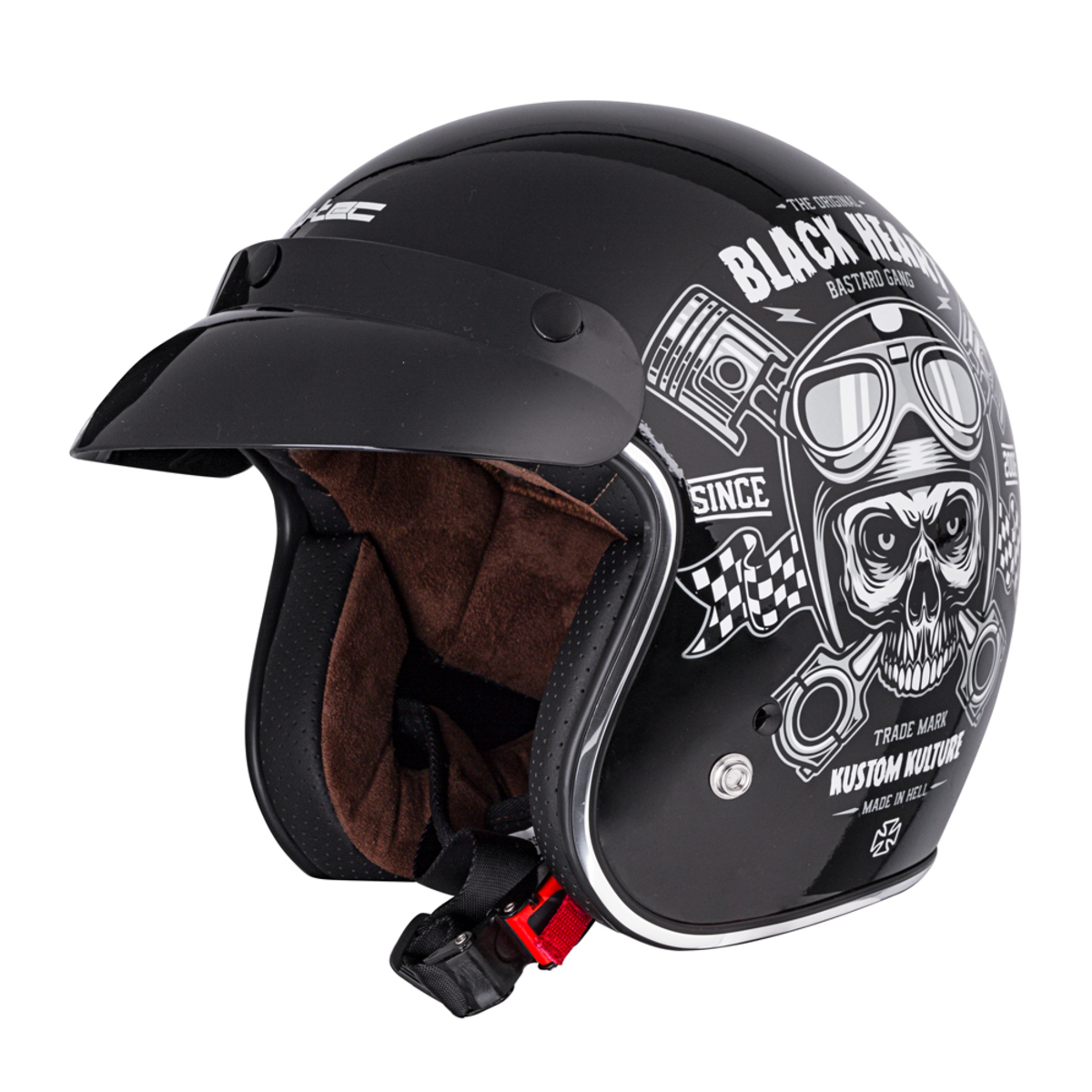 Casque BLACK HEART - PISTON SKULL - NOIR
