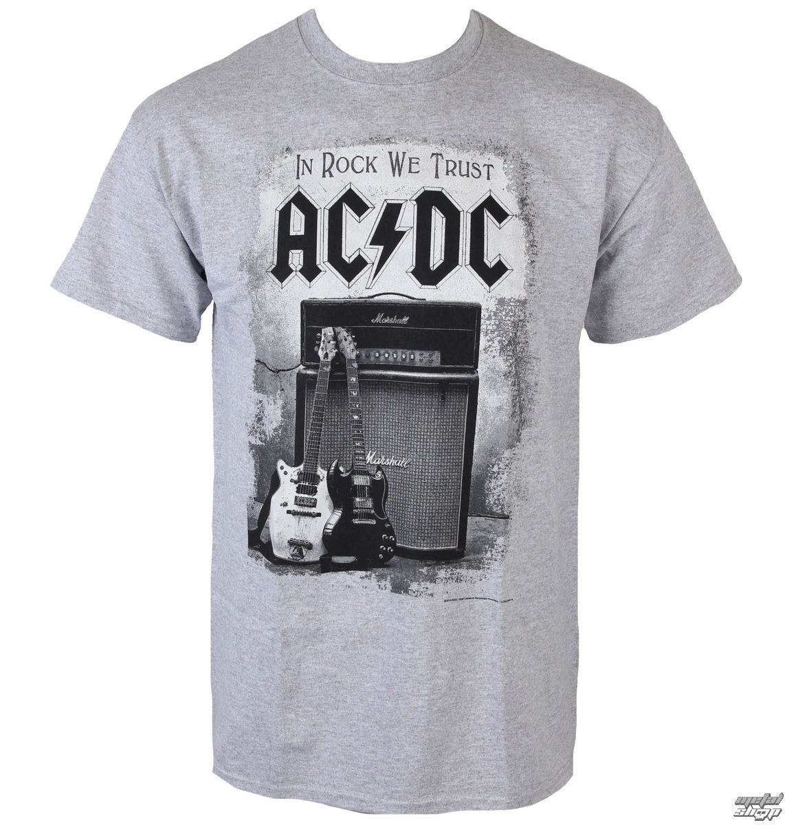 tee shirt m tal pour hommes ac dc in rock we trust low. Black Bedroom Furniture Sets. Home Design Ideas