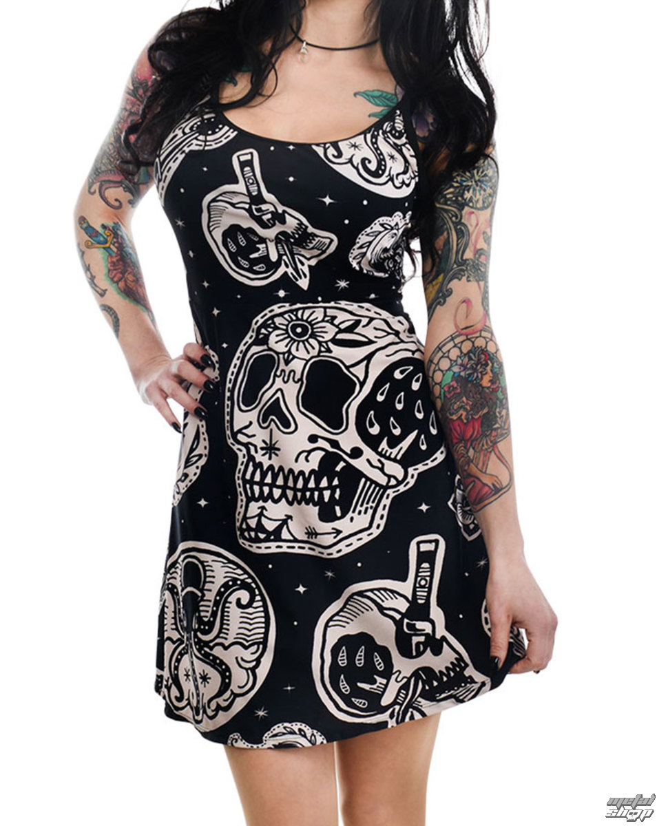 Robe femmes TOO FAST- PATCHWORK TATOUAGE & CRÂNE IMPRESSION GINGEMBRE PATINEUR