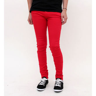 pantalon pour femmes HELL BUNNY - Super Skinny - Rouge, HELL BUNNY